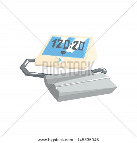 Pressure Monitoring Digital Tonometer Hospital And Healthcare Themed Illustration. Cool Colorful Vector Sticker In Stylized Geometric Cartoon Design