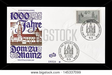 GERMANY - CIRCA 1975 : Cancelled First Day Cover letter printed by Germany, that shows Mainz.