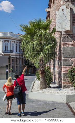Pourist Sundial Dzhumaya Mosque Plovdiv