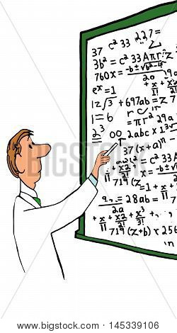 Illustration of professor standing in front of a whiteboard filled with complex equations.
