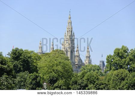 The building of the Vienna Town Hall. View from Heldenplatz.