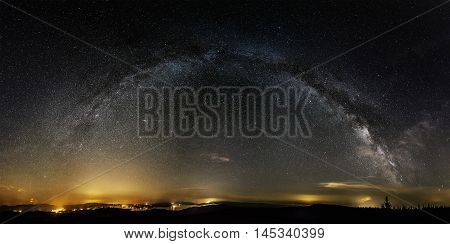 Milky way on over the Lipno Dam, Czech Republic