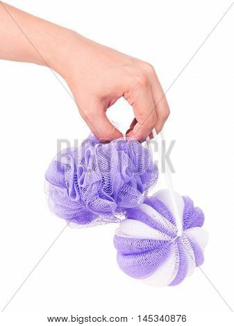 Colorful bast whisp in the female hand isolated on white background cutout