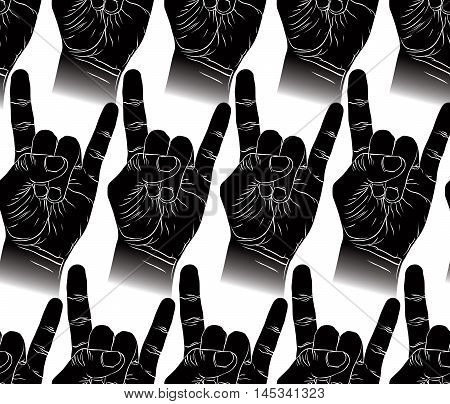 Rock hands seamless pattern rock metal rock and roll music style vector background for textile or other designs.