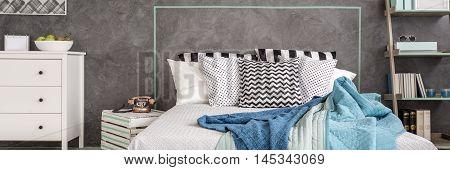 Blue Details In Bedroom Design