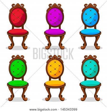 cartoon colorful Retro chair in vector object