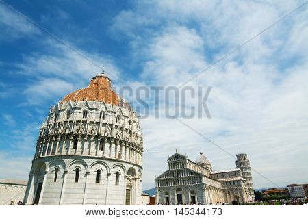 World famous Piazza dei Miracoli in Pisa Italy