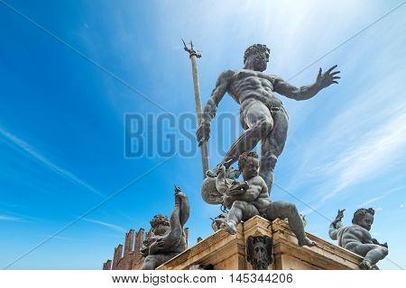 famous Triton statue in Bologna in Italy