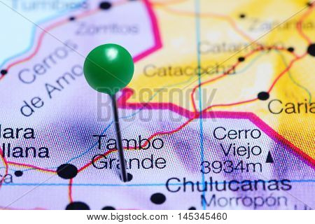 Tambo Grande pinned on a map of Peru