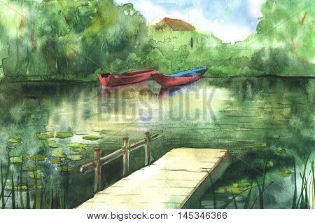Watercolor river landscape with boats and gangway