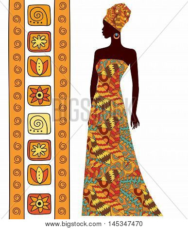 silhouette of a beautiful African woman isolated on white background