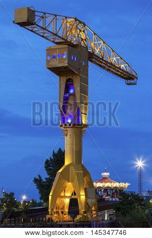 Titan crane on Island of Nantes. Nantes Pays de la Loire France