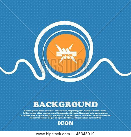 Barbed Wire Icon. Sign. Blue And White Abstract Background Flecked With Space For Text And Your Desi