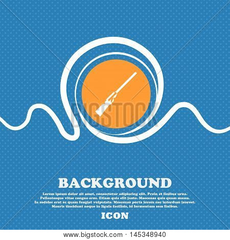 Shotgun Icon Sign. Blue And White Abstract Background Flecked With Space For Text And Your Design. V