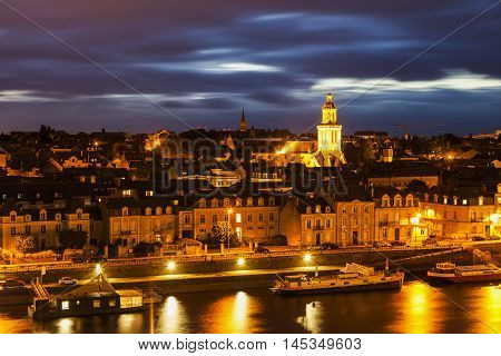 Panorama of Angers at night. Angers Pays de la Loire France