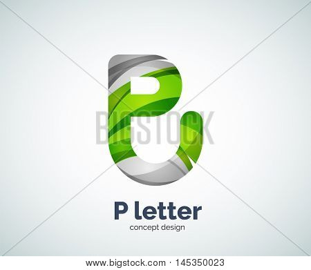 Vector P letter business logo, modern abstract geometric elegant design. Created with waves