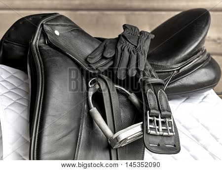 Dressage Saddle With Stirrup, Riding Gloves And Girth