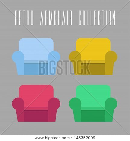 Retro Armchair Collection. Vector illustration on grey background vintage and retro theme. Four color variants of armchair to choose.
