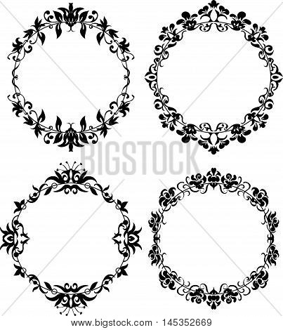 Vector Set of Different Styles Frame Silhouettes. Floral design for elegant composition. Round form