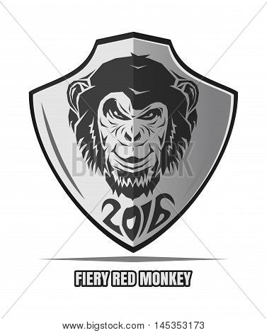 Black and white emblem 2016. Year of fiery red monkey on the Chinese calendar. The image monkey on the shield. Vector logo.