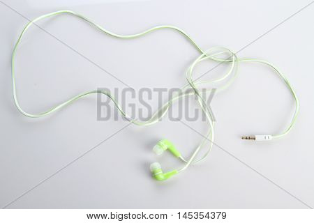 Music Earphones on White Background Stock Photo
