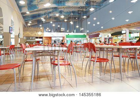 Interior of fast food restaurant