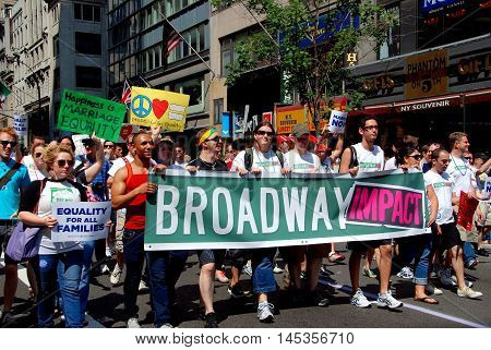 New York City - June 28 2009: Broadway Impact members marching in the 40th anniversary gay pride parade on fifth Avenue