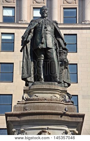 MONTREAL CANADA AUGUST 17 2016: The Edward VII Monument is a statue of King Edward VII by artist Louis-Philippe Hebert and located at Phillips Square in Montreal, Quebec, Canada.