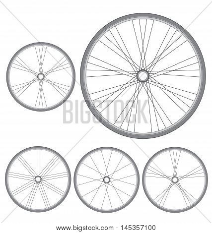different bicycle wheels on a white background