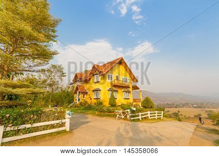 Yellow house and clear sky in Pai, Mae Hong Son, Thailand