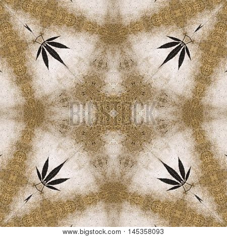 Ganja leaf abstract marble hippie tile image