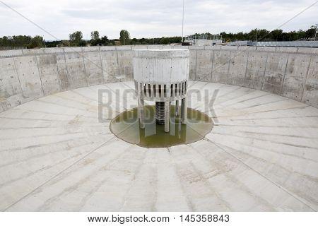 Sludge Recirculation Clarifier Solid Contact Sedimentation Tank. Wastewater treatment plant.  poster