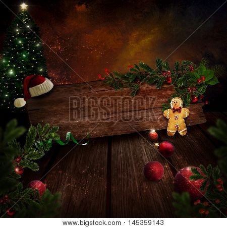 Chritmas design - Night Christmas tree. Background with Glitter Xmas tree in room with art abstract painting. 3d Gingerbread man Christmas ornaments and Holly. Vintage holiday card with copyspace.