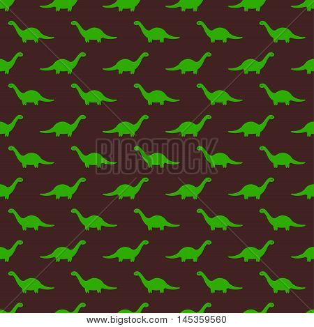 Brown Childish Seamless Pattern with Green Brontosaurus. Vector illustration. History animal and nature themed texture.