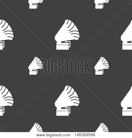 Gramophone Icon. Sign. Seamless Pattern On A Gray Background. Vector
