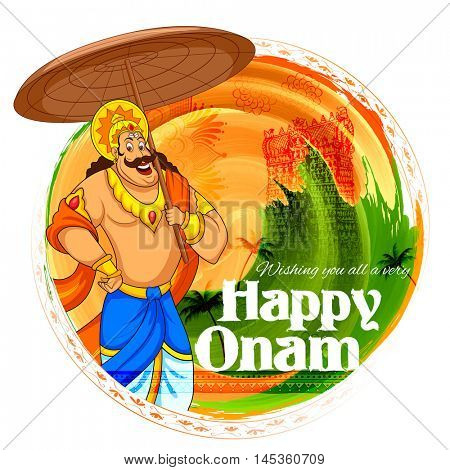 illustration of King Mahabali in Onam background showing culture of Kerala