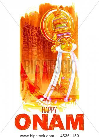 illustration of colorful Kathakali dancer face on grungy background for Happy Onam