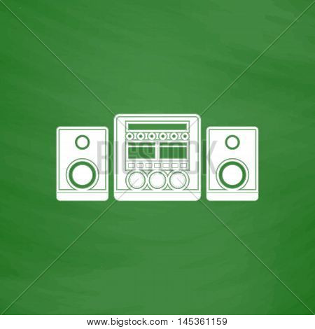Sound System Simple line vector button. Imitation draw with white chalk on blackboard. Flat Pictogram and School board background. Outine illustration icon