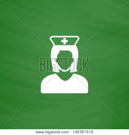 Nurse Simple line vector button. Imitation draw with white chalk on blackboard. Flat Pictogram and School board background. Outine illustration icon