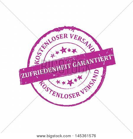 Satisfaction Guaranteed, Free Shipping (Text in German language: Zufriedenheit Garantiert, kostenloser Versand) - purple stamp / bagde. Print colors used