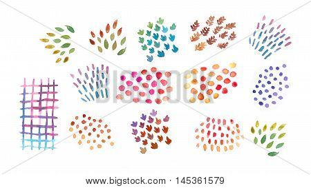 water color decorative elements on white isolated background