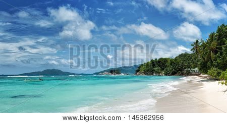 panoramic view of tropical beauch anse la blague on praslin island seychelles
