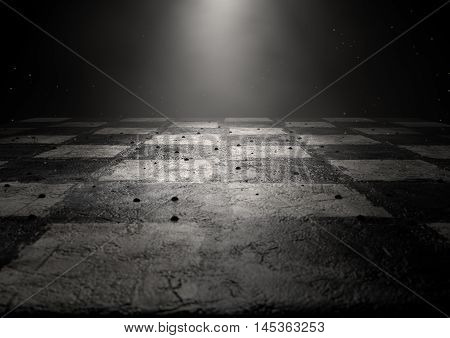 A 3D render of a dirty chessboard spotlit by a single light on a dark background