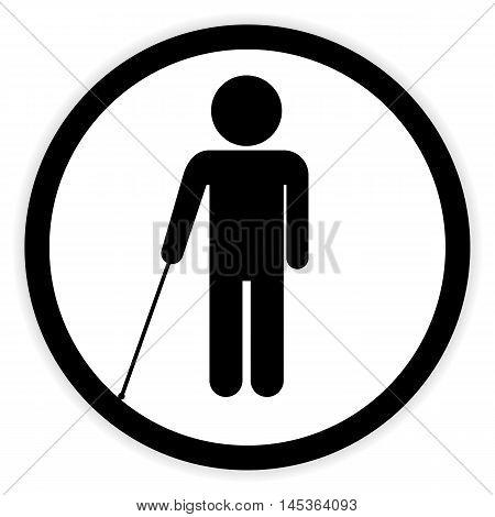 Blind disabled button on white background. Vector illustration.