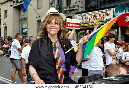 New York City - June 25 2011: CNN-TV commentator Jane Velez-Mitchell riding in the GLAAD car at the 2011 Gay Pride Parade on Fifth Avenue