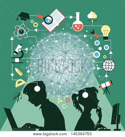 The concept of education. Icons education. Online education Silhouettes of boy and girl involved in the computers in an environment of education icons.