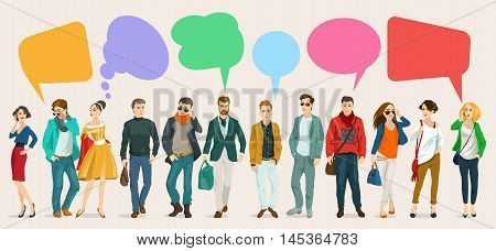 Images of modern humans leading a dialogue with colorful speech bubbles. Speech bubbles in the form of puzzles. Dialogue and consensus.
