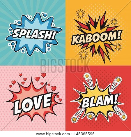 kaboom love splash blam explosion cartoon pop art comic retro communication icon. Colorful design. Vector illustration