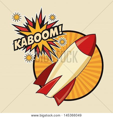 rocket spaceship kaboom boom explosion cartoon pop art comic retro communication icon. Colorful striped circle design. Vector illustration