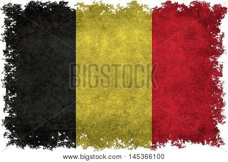 National flag of Belgium with distressed vintage textures and edges